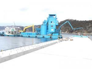 「コンクリートミキサー船」コンクリート打設工事